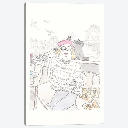 Café Orly Beret Yorkie Canvas Print #SSH83} by Shell Sherree Canvas Artwork