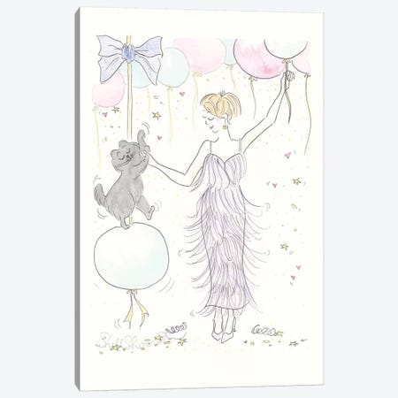 Dance Pawty Balloon Fest Canvas Print #SSH85} by Shell Sherree Canvas Art Print