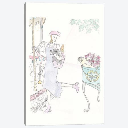 Paris Carousel Pinafore Canvas Print #SSH89} by Shell Sherree Canvas Art