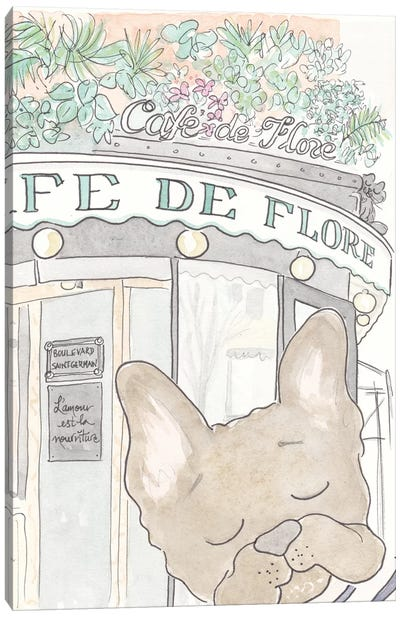 Café De Flore Bentley French Bulldog Canvas Art Print