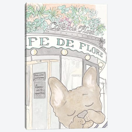 Café De Flore Bentley French Bulldog Canvas Print #SSH8} by Shell Sherree Canvas Print