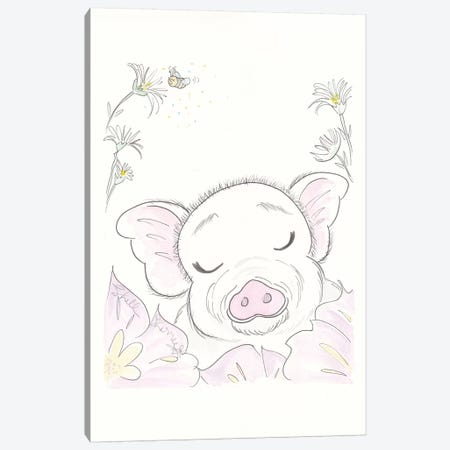 Pig Flowers Canvas Print #SSH91} by Shell Sherree Canvas Print