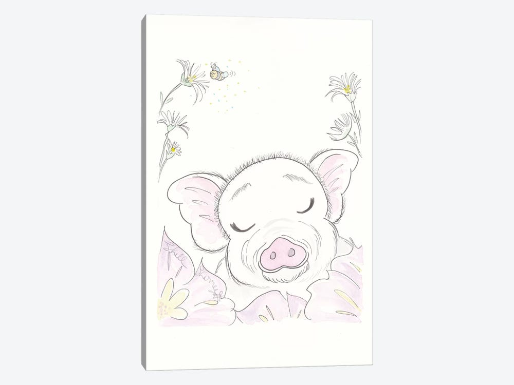 Pig Flowers by Shell Sherree 1-piece Canvas Print