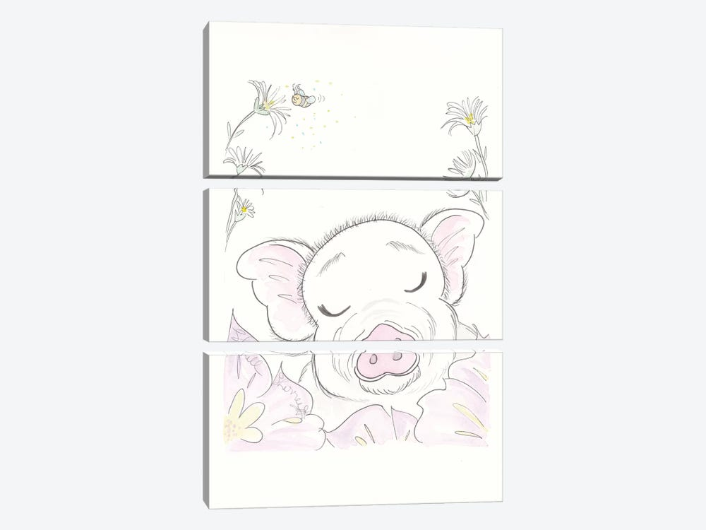 Pig Flowers by Shell Sherree 3-piece Canvas Art Print