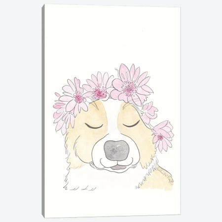 Sweet Corgi With Flower Crown Canvas Print #SSH94} by Shell Sherree Canvas Artwork