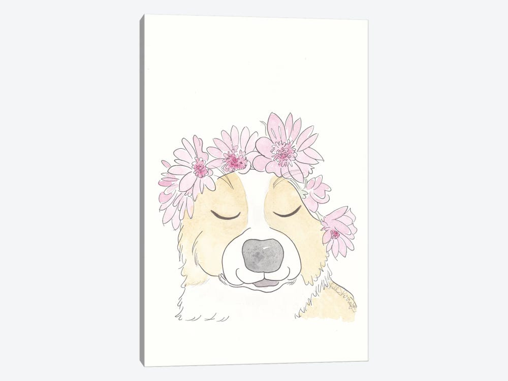 Sweet Corgi With Flower Crown by Shell Sherree 1-piece Canvas Artwork