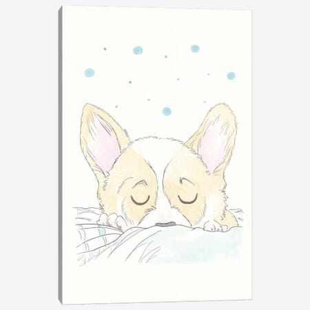 A Spot of Corgi Nap Canvas Print #SSH95} by Shell Sherree Canvas Artwork
