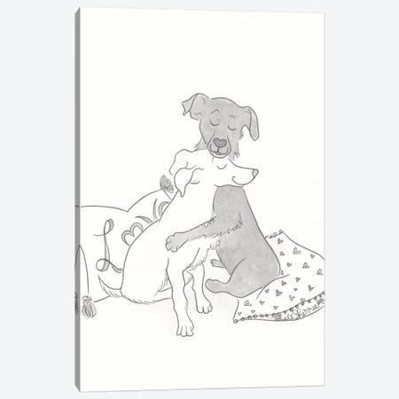 Black and White Dog Hugs Canvas Print #SSH96} by Shell Sherree Canvas Artwork