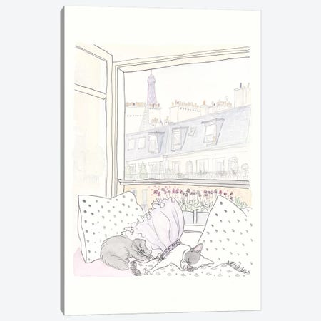 Frenchie Cat Nap with Paris View Canvas Print #SSH97} by Shell Sherree Canvas Artwork