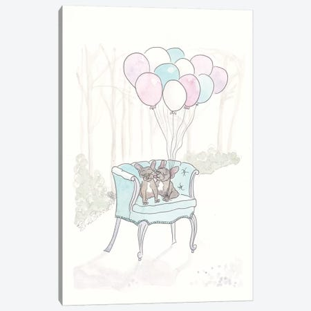 Frenchies on Aqua Chair Take Flight Canvas Print #SSH98} by Shell Sherree Art Print