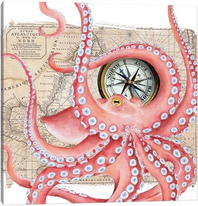 Red Octopus Dance Compass Map Canvas Art Print