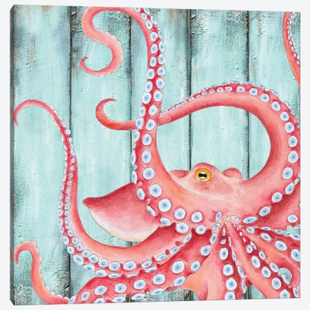Red Octopus Teal Wood Shabby Chic Canvas Print #SSI103} by Seven Sirens Studios Art Print