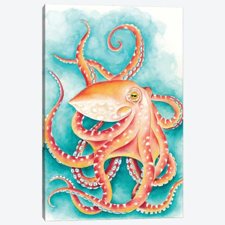 Orange Red Octopus Teal Watercolor Art Canvas Print #SSI104} by Seven Sirens Studios Canvas Artwork