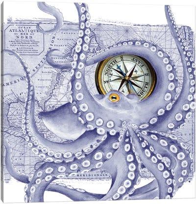 Purple Octopus Vintage Map Compass Canvas Art Print