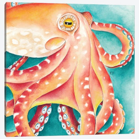 Orange Red Teal Octopus Watercolor Art Canvas Print #SSI107} by Seven Sirens Studios Canvas Wall Art