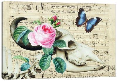 Cow Sugar Skull Floral Music Canvas Art Print