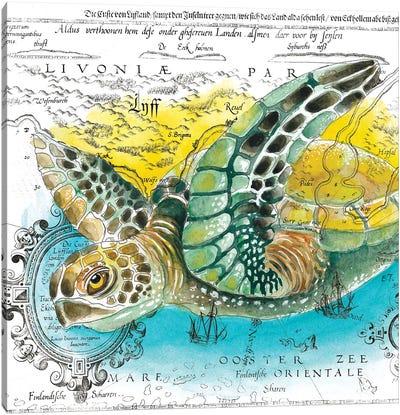 Sea Turtle Vintage Map Watercolor Canvas Art Print