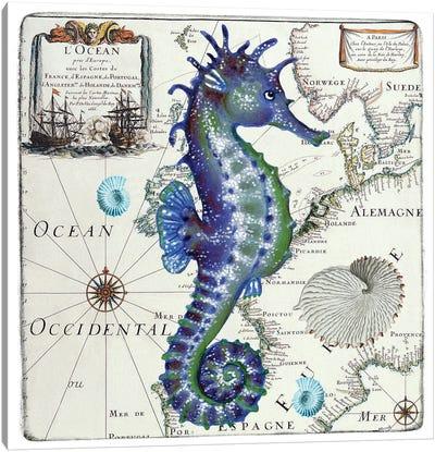 Blue Seahorse Vintage Nautical Map Canvas Art Print