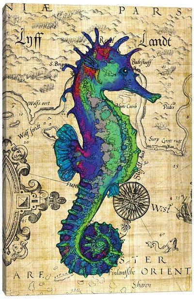 Blue Green Seahorse Vintage Papyrus Map Canvas Art Print