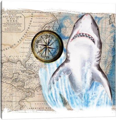 Great White Shark Compass Nautical Map Canvas Art Print
