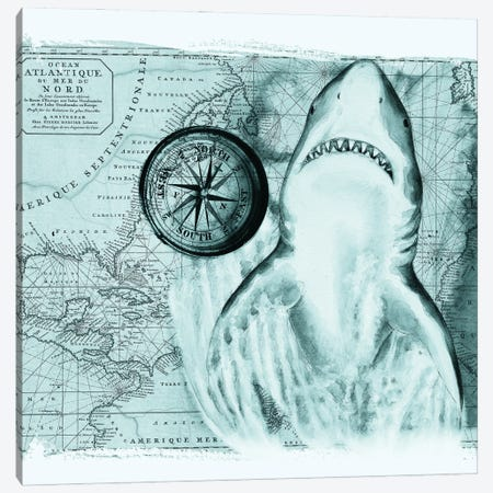 Great White Shark Compass Nautical Map Teal Canvas Print #SSI117} by Seven Sirens Studios Canvas Print