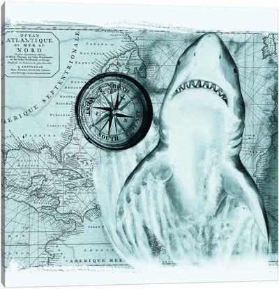 Great White Shark Compass Nautical Map Teal Canvas Art Print