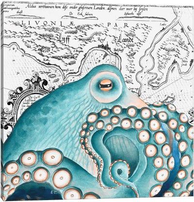 Blue Salmon Pink Octopus Vintage Map Canvas Art Print