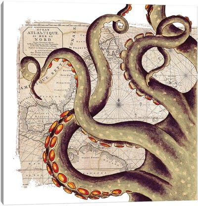 Beige Tentacles Vintage Map Nautical Canvas Art Print