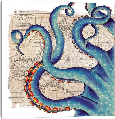 Blue Tentacles Vintage Map Nautical Canvas Art Print