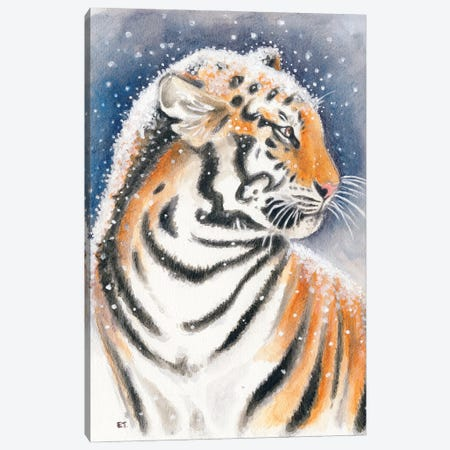 Tiger In The Snow Watercolor Art Canvas Print #SSI128} by Seven Sirens Studios Canvas Print