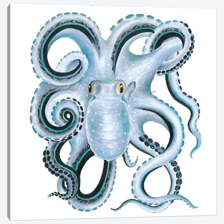 Blue Octopus Ink Canvas Print #SSI12} by Seven Sirens Studios Canvas Wall Art