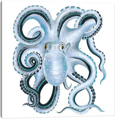 Blue Octopus Ink Canvas Art Print