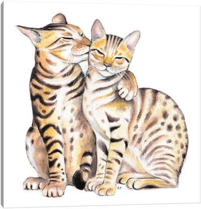 Bengal Cats Love Watercolor Art Canvas Art Print