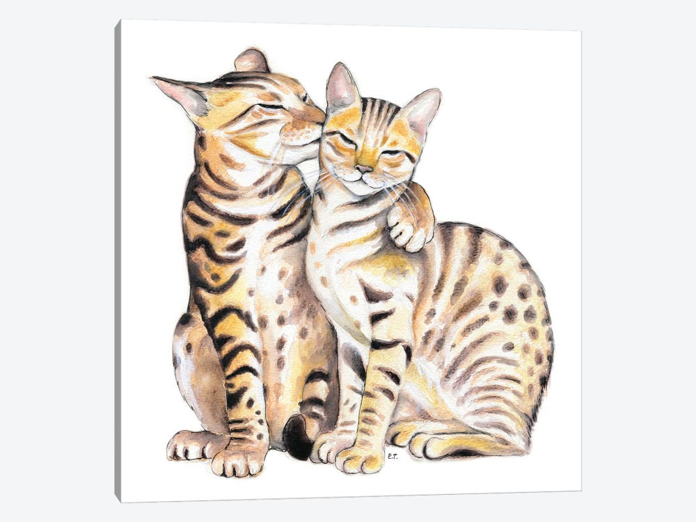 Bengal Cats Love Watercolor Art by Seven Sirens Studios 1-piece Canvas Print