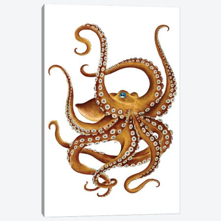 Brown Octopus Blue Eye Watercolor Canvas Print #SSI13} by Seven Sirens Studios Canvas Wall Art