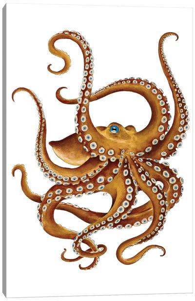 Brown Octopus Blue Eye Watercolor Canvas Art Print