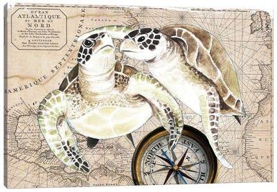 Sea Turtles Love Vintage Map Compass Canvas Art Print