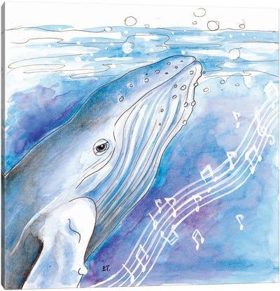 Blue Whale Song Watercolor Art Canvas Art Print