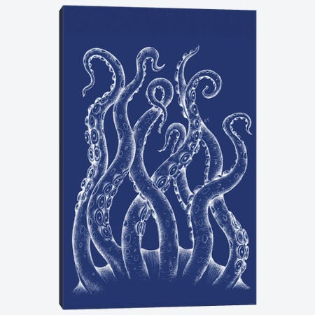 White Tentacles Octopus Blue Ink Canvas Print #SSI143} by Seven Sirens Studios Art Print
