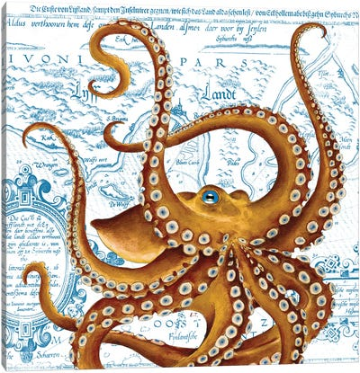 Brown Octopus Blue Eye Vintage Map Canvas Art Print