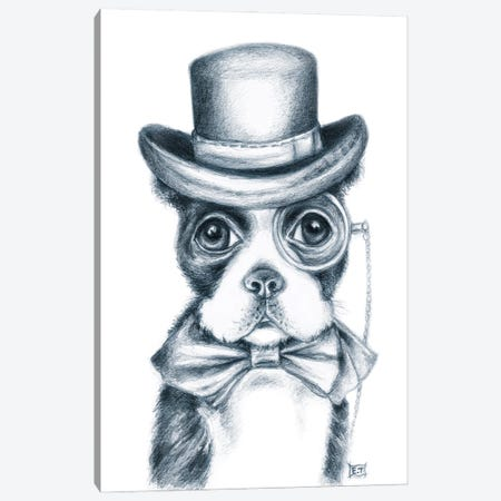 Mr. Boston Terrier Detective Canvas Print #SSI152} by Seven Sirens Studios Canvas Art