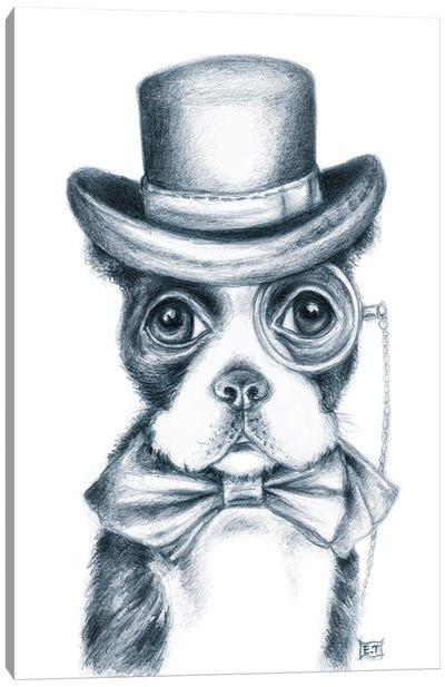 Mr. Boston Terrier Detective Canvas Art Print