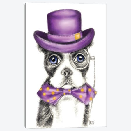 Mr. Boston Terrier Detective Purple Canvas Print #SSI153} by Seven Sirens Studios Canvas Art
