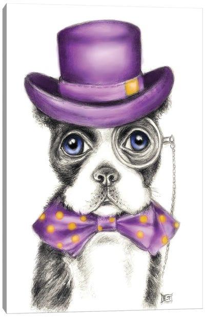 Mr. Boston Terrier Detective Purple Canvas Art Print