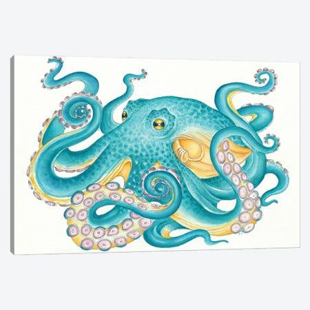 Octopus Tentacles Kraken Watercolor Yellow Teal Canvas Print #SSI157} by Seven Sirens Studios Canvas Print