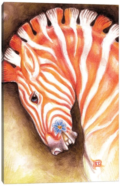 Carousel Zebra Horse Watercolor Art Canvas Art Print