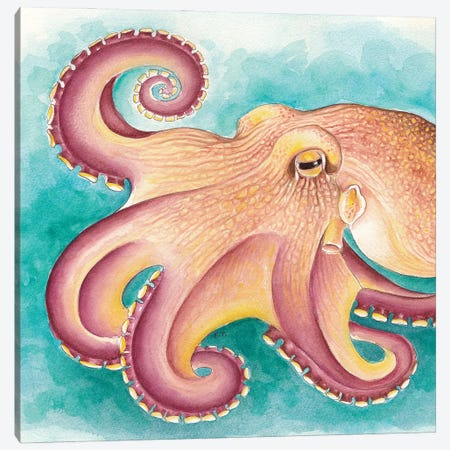 Coconut Muscle Octopus Watercolor Art Canvas Print #SSI16} by Seven Sirens Studios Canvas Print