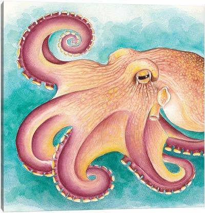 Coconut Muscle Octopus Watercolor Art Canvas Art Print