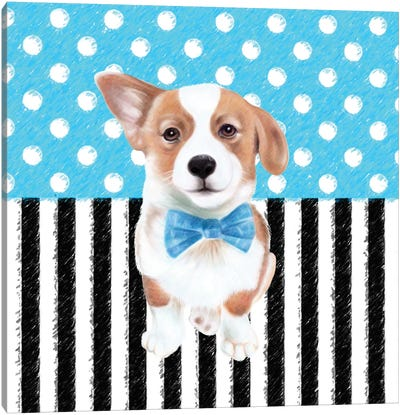 Corgi Blue Polka Dot Stripes Canvas Art Print