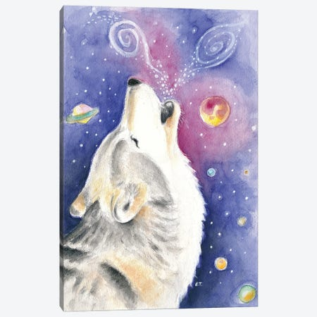 Howling Wolf Cosmic Galaxy Watercolor Art Canvas Print #SSI20} by Seven Sirens Studios Art Print